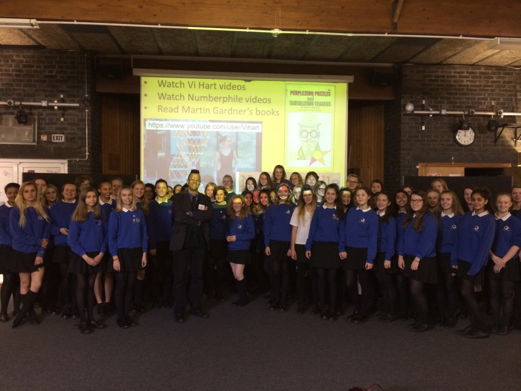 Simon with Pupils from Waldegrave School for Girls