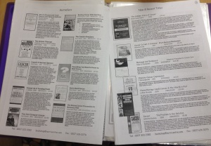 Folder listing the books available