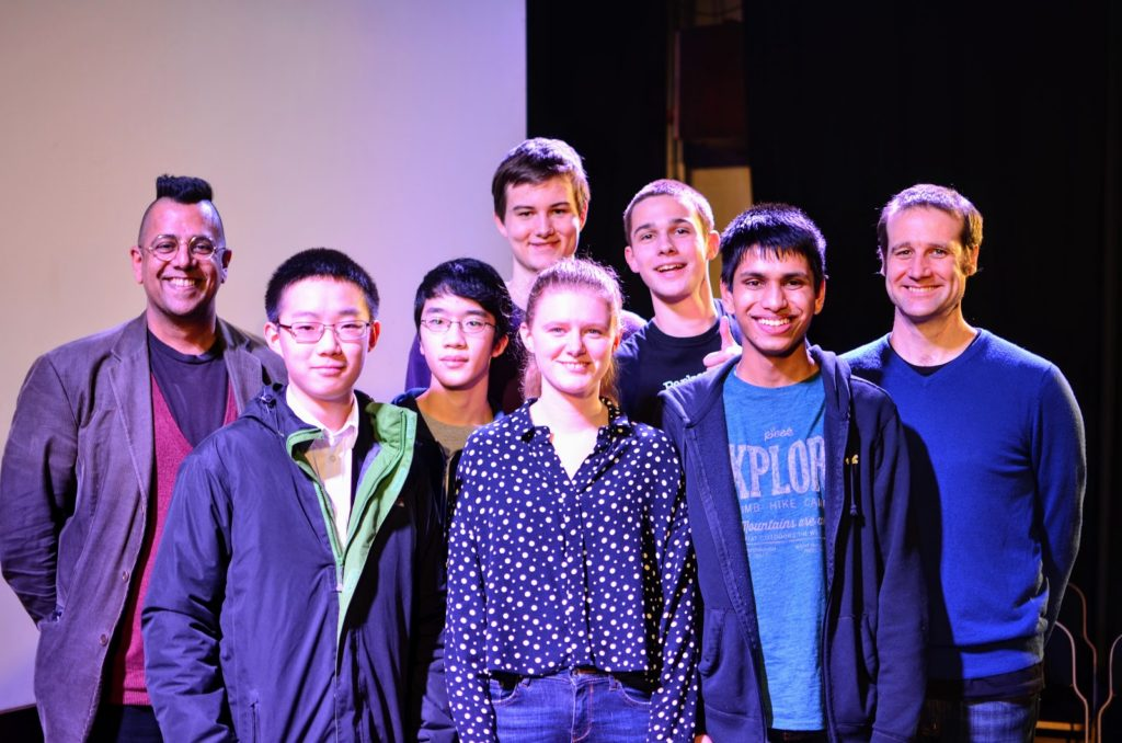 eft to right: Simon Singh (Good Thinking), Yuji Okitani (Tapton Academy), Charlie Hu (City of London School), Simon Wisniewski (St Paul's Catholic College), winner Connie Bambridge-Sutton (Reigate Grammar School), John Harber (King's College London Mathematics School), Shavindra Jayasekera (Wilson's School), Matt Parker (Maths Fest). Photo by Ben Sparks.