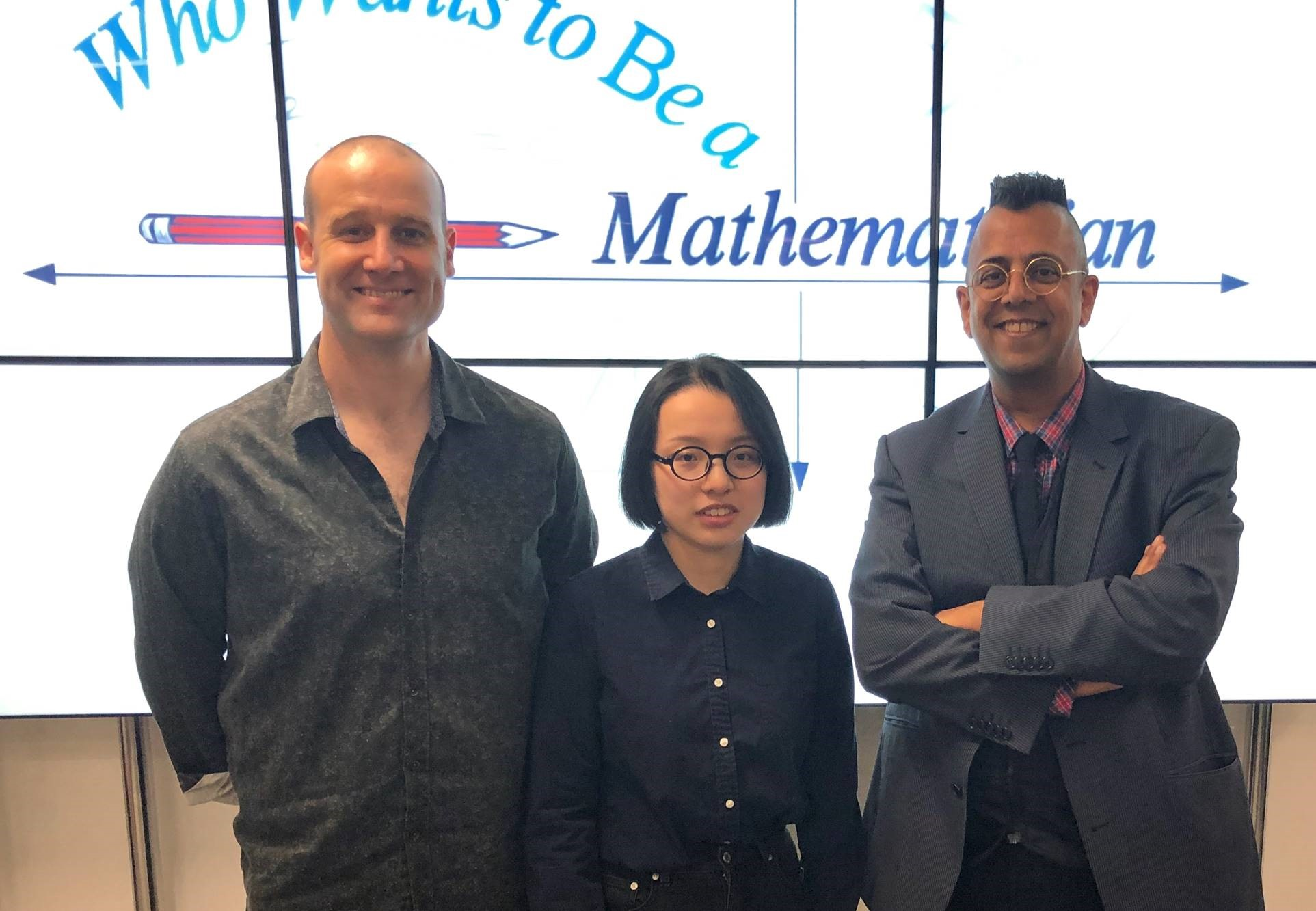 Our 2018/19 winner Olivia Guo, pictured with Matt Parker and Simon Singh.